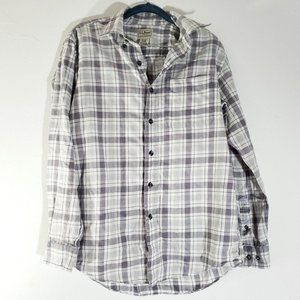 LL Bean Dress Shirt Plaid White Gray Mens S
